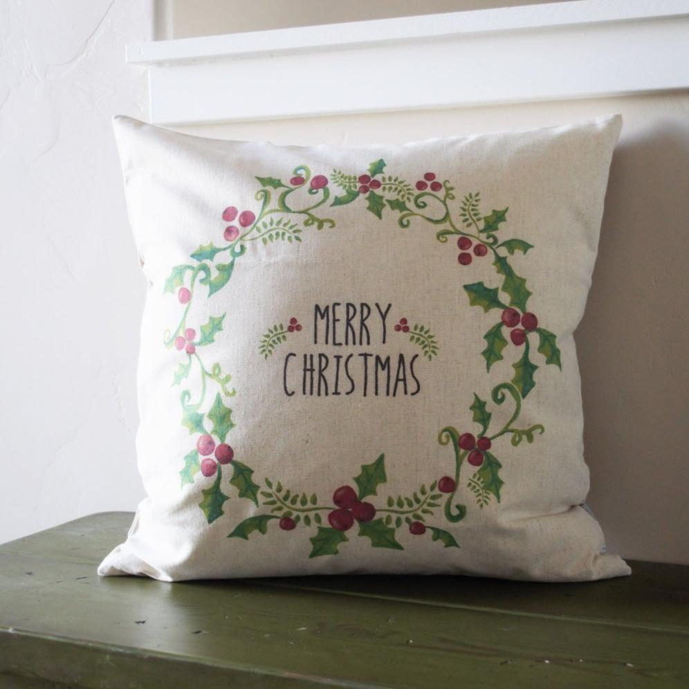 christmas pillow cover christmas decor merry christmas pillow holly berry pillow 18x18