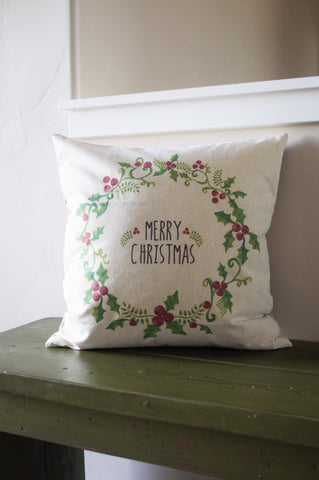 Christmas pillow cover, Christmas decor, Merry Christmas pillow, Holly Berry Pillow, 18x18 - Our Traditions Boutique - 1