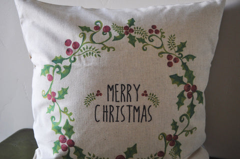 Christmas pillow cover, Christmas decor, Merry Christmas pillow, Holly Berry Pillow, 18x18 - Our Traditions Boutique - 2