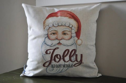 Christmas pillow cover, Christmas decor, Nostalgia, Old Saint Nicholas, Watercolor, 18x18, Vintage Chritmas - Our Traditions Boutique - 1