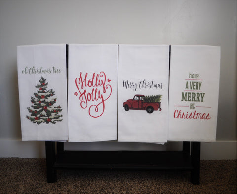 Kitchen towel, dish towel,  tea towel, Christmas kitchen towels, Christmas Decor, Neighbor Christmas Gift,  Decor, FOUR STYLES