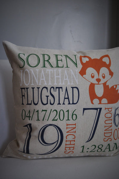Woodland Nursery, Personalized birth pillow cover, birth Announcement pillow cover, birth pillow cover, FOX Nursery, CUSTOMIZE, 18x18 - Our Traditions Boutique - 2