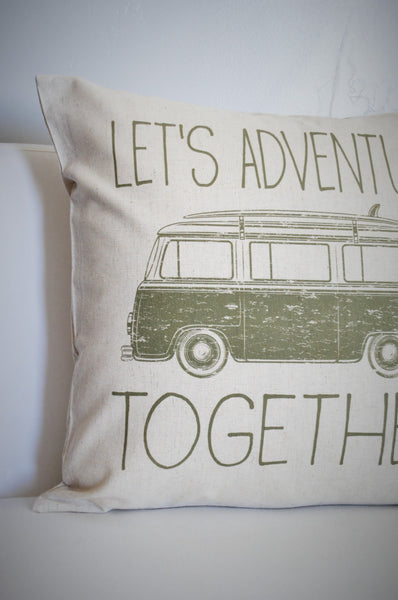 SUMMER CLEARANCE SALE, Let's Adventure together, vdub pillow cover, adventure pillow cover, summer pillow cover - Our Traditions Boutique - 2