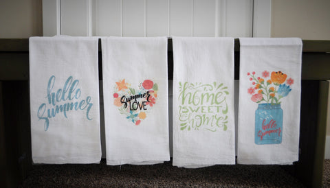 Kitchen towel, dish towel, flour sack towel, tea towel, summer kitchen towels,  FOUR STYLES