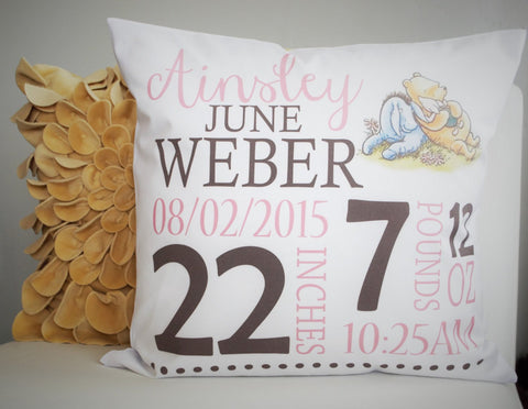Personalized birth pillow cover, birth Announcement pillow cover, Stats Pillow, birth pillow, Winnie the Pooh Nursery