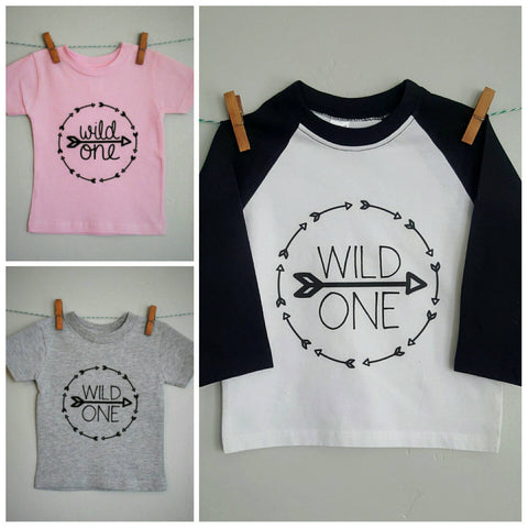 Wild one Shirt, first birthday shirt, boy first birthday, girl first birthday, available in grey or pink