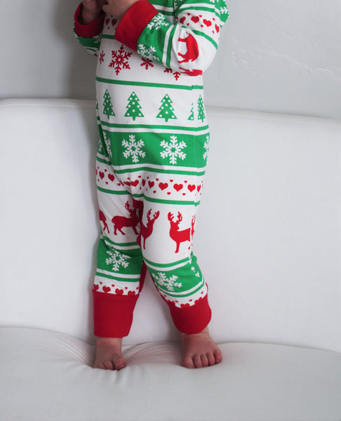 Christmas Romper, Fair Isles, Christmas Outfit, Long Sleeve Romper, 3 months- 24 months - Our Traditions Boutique - 1