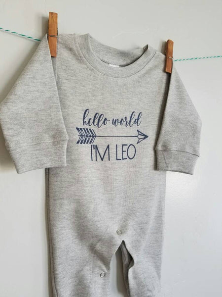 Personalized Romper , baby boy, baby girl Romper, baby romper, Long sleeve Romper,  baby shower gift, printed baby Romper, hello world - Our Traditions Boutique - 3