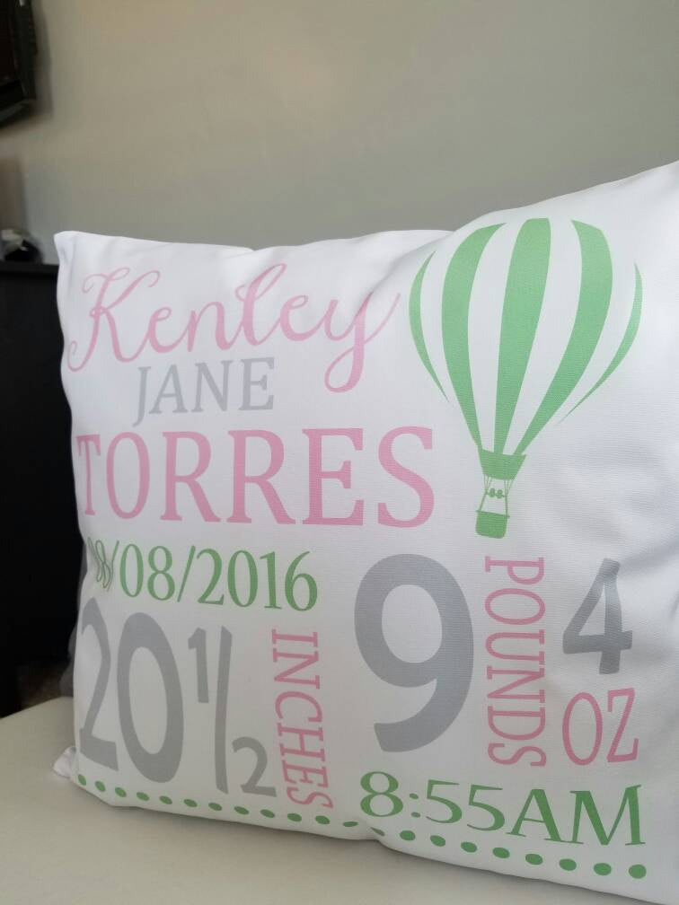 Personalized birth pillow cover, birth Announcement pillow cover, birth pillow cover, baby girl birth pillow, hot air balloon, 18x18