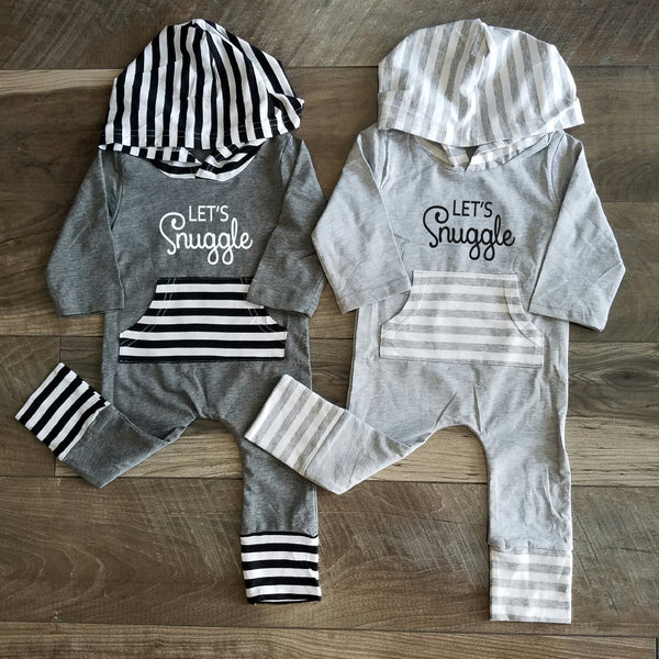 Let's Snuggle Romper, Long Sleeve romper, gray romper, 3 months- 24 months - Our Traditions Boutique - 1