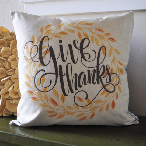 Fall Pillow Cover, Give Thanks, Fall Decor, Thanksgiving decor