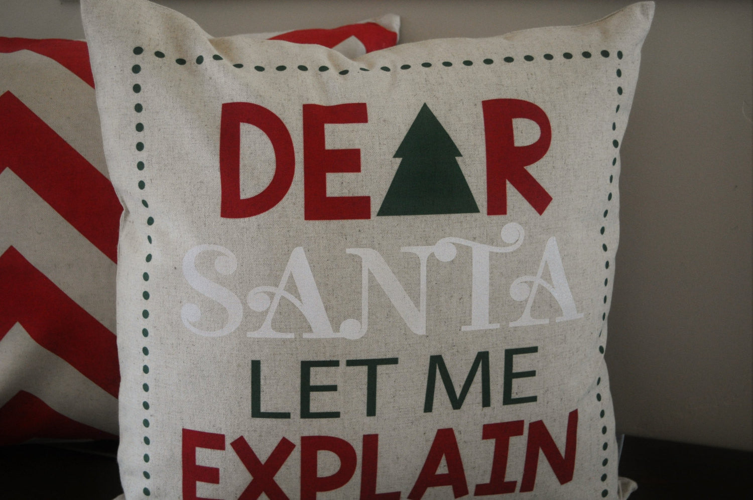 Christmas pillow cover, Christmas decor, Dear Santa I can Explain, Merry Christmas pillow, 18x18 - Our Traditions Boutique - 2