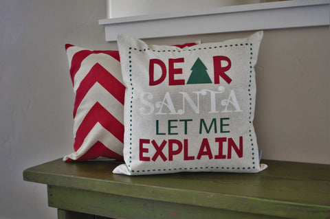 Christmas pillow cover, Christmas decor, Dear Santa I can Explain, Merry Christmas pillow, 18x18 - Our Traditions Boutique - 1
