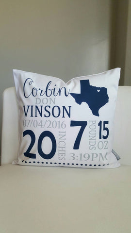 Personalized birth pillow cover, birth Announcement pillow cover, birth pillow cover, STATE OUTLINE,