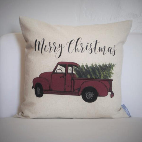 Christmas pillow cover, Christmas decor, Christmas Tree, Merry Christmas pillow, hand drawn, Vintage christmas, 18x18,  red Christmas truck - Our Traditions Boutique - 1