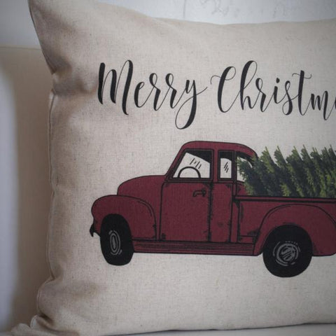Christmas pillow cover, Christmas decor, Christmas Tree, Merry Christmas pillow, hand drawn, Vintage christmas, 18x18,  red Christmas truck - Our Traditions Boutique - 2