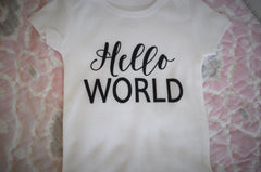 Hello World Onesie, SHORT OR LONG sleeve, baby boy, baby girl onesie, baby onesie, onsie,  baby shower gift, printed baby onesie