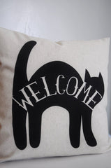 Halloween pillow, Black cat, Happy Halloween, Halloween Decor, Fall pillow,halloween, Welcome pillow