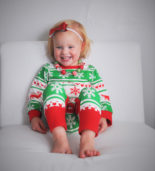 Christmas Romper, Fair Isles, Christmas Outfit, Long Sleeve Romper, 3 months- 24 months - Our Traditions Boutique - 2