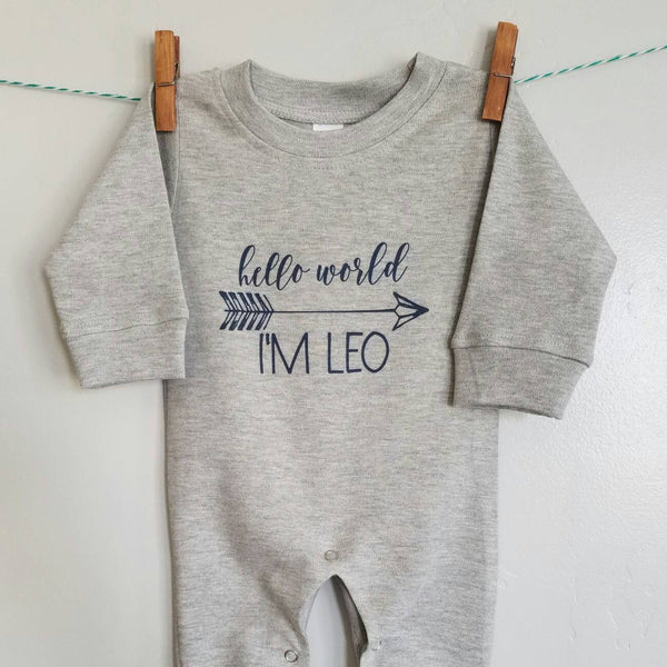 Personalized Romper , baby boy, baby girl Romper, baby romper, Long sleeve Romper,  baby shower gift, printed baby Romper, hello world - Our Traditions Boutique - 1