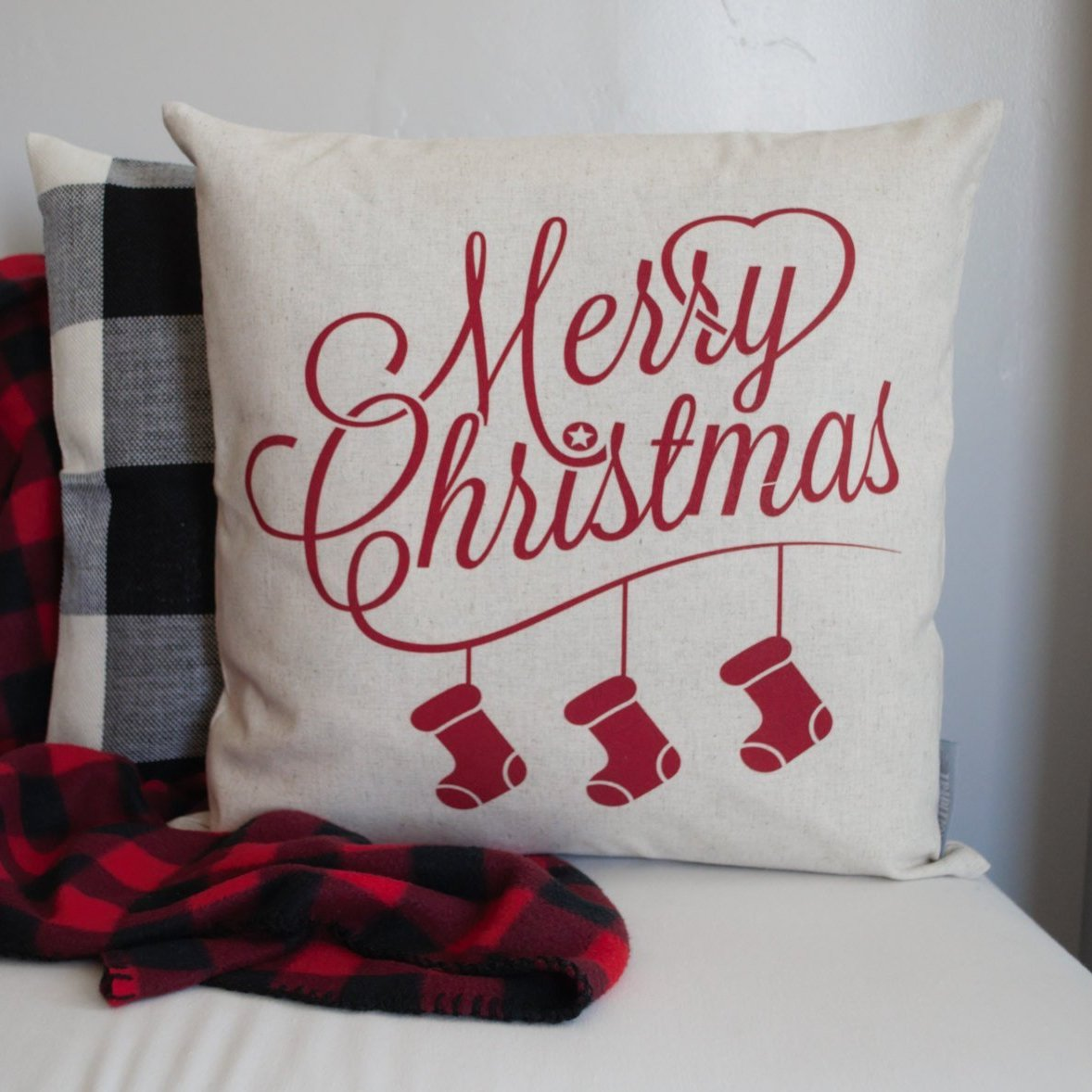 Merry Christmas Stockings Pillow Cover