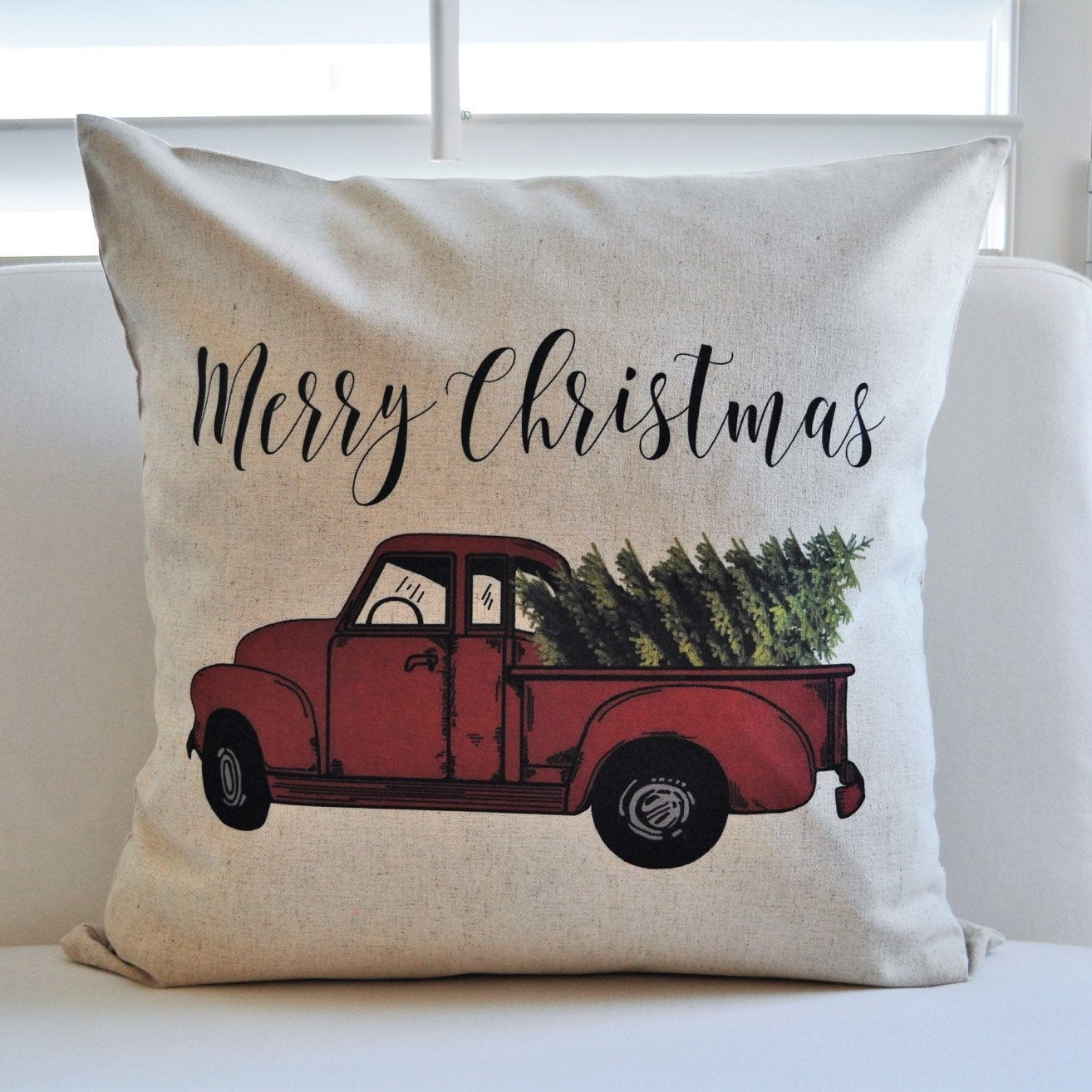 Vintage Red Truck Christmas Decor.Vintage Red Truck Christmas Tree Pillow 18x18