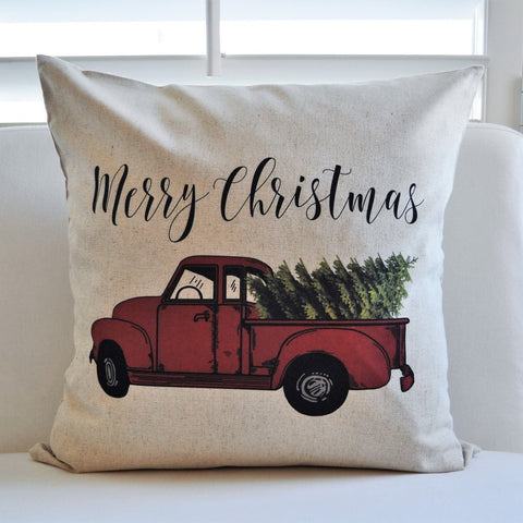 SALE,this weekend ONLY Christmas pillow cover, Christmas, Christmas Tree, Merry Christmas pillow, Vintage christmas,  red Christmas truck