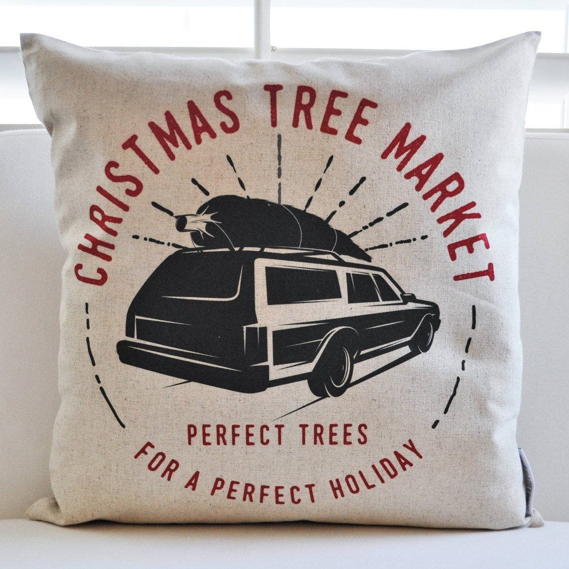 Christmas pillow cover, Christmas Tree Market- colored, Christmas decor,  Merry Christmas pillow, Christmas Plaid, Vintage christmas