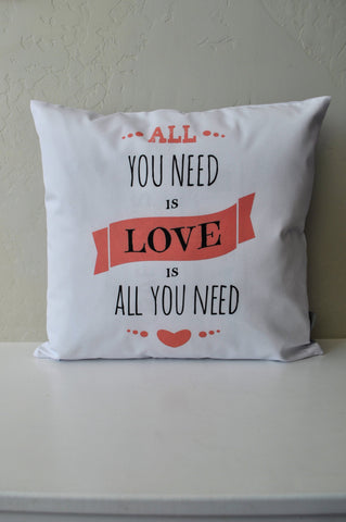 SALE, Valentines Pillow Cover, Valentines Decoration, 18x18 Pillow Cover, all you need is love, love is all you need