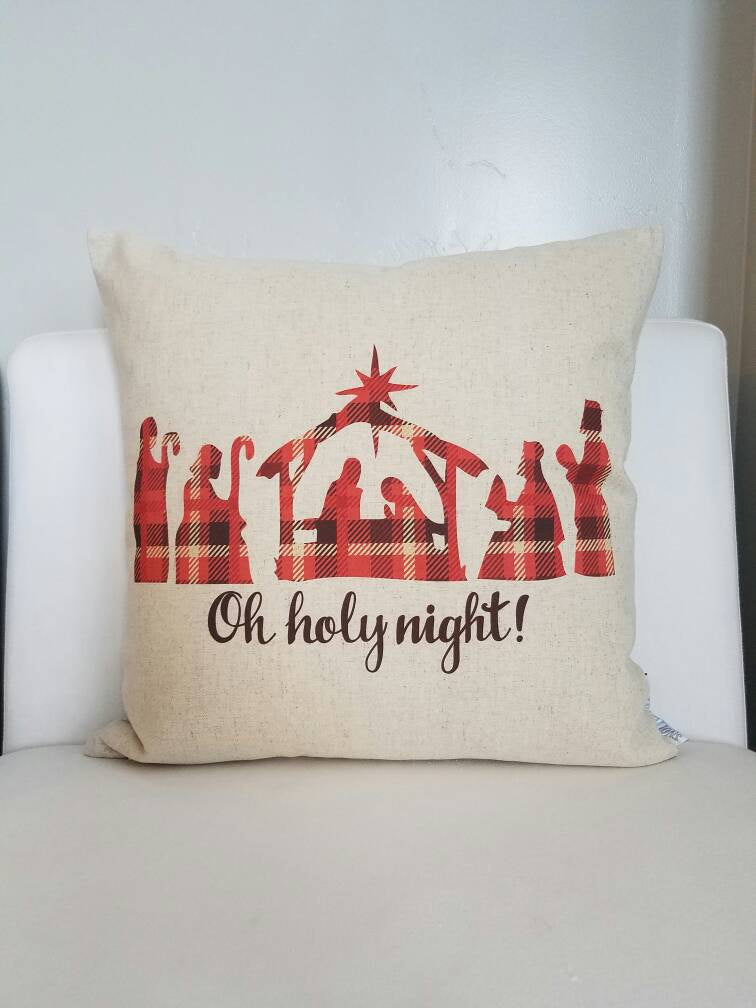 Christmas pillow cover, oh holy night, nativity pillow, Christmas decor, plaid Christmas pillow