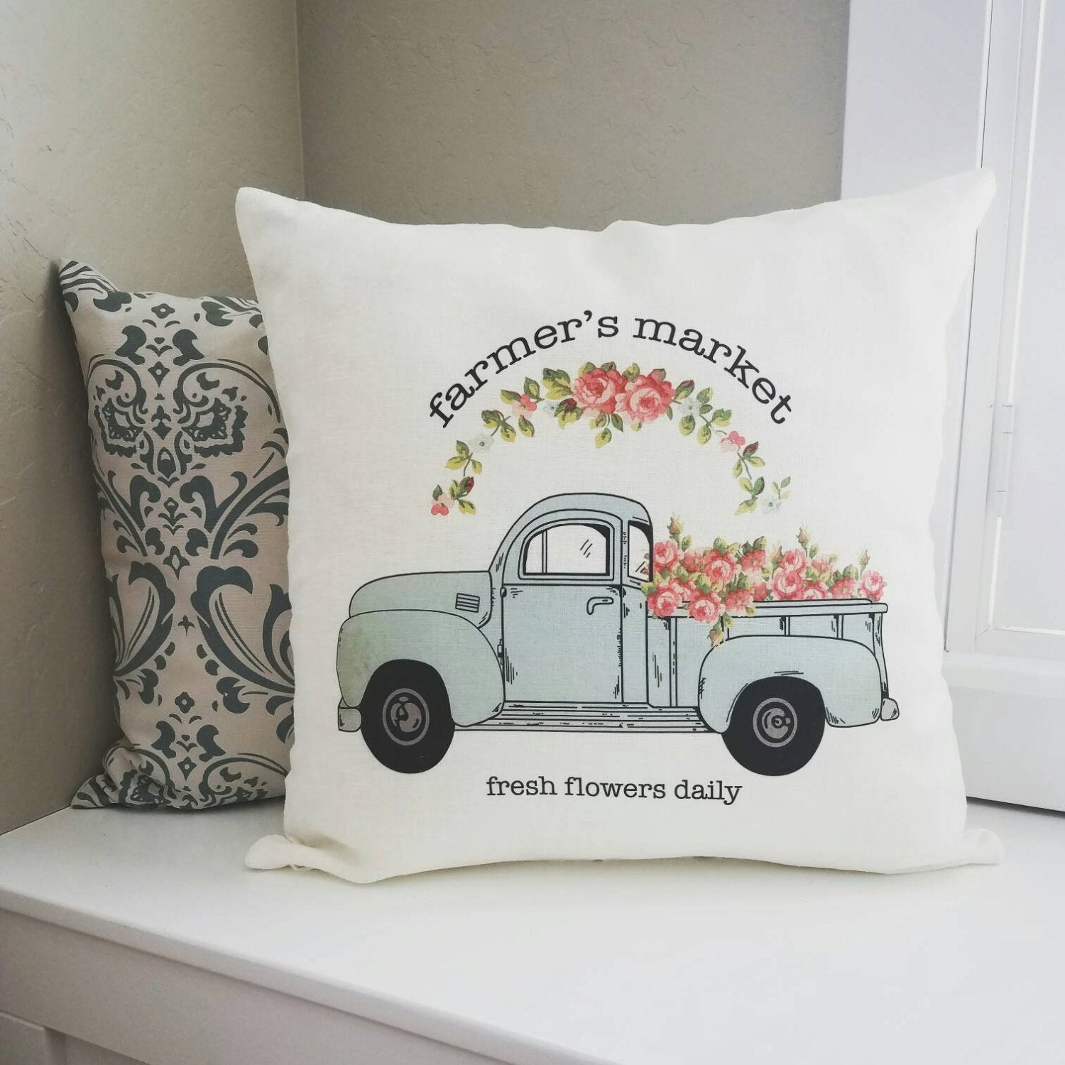 SALE, Farmers market Pillow Cover, truck Pillow Cover, Spring pillow cover, 18x18
