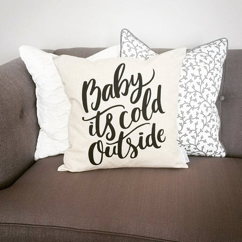 SALE, Winter pillow cover, Baby its cold outside, Christmas pillow