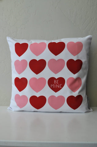 SALE, Valentines Pillow Cover, Valentines Decoration, 18x18 Pillow Cover, blush heart, red heart