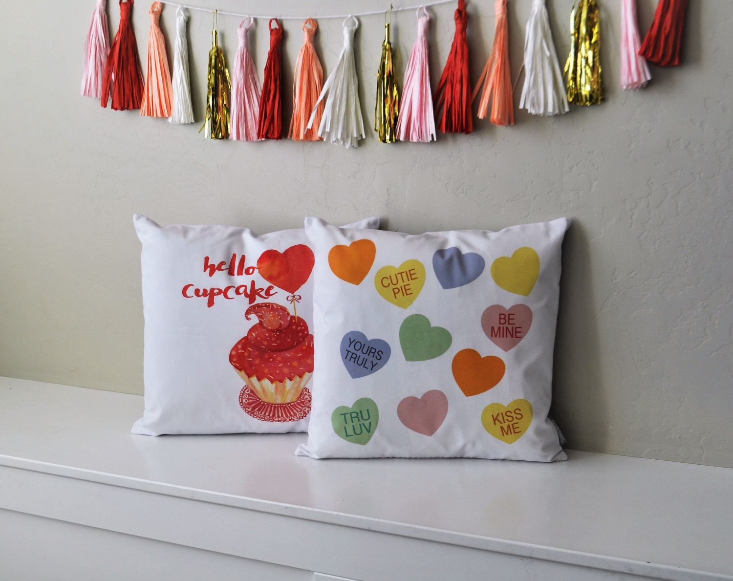 SALE, Valentines Pillow Cover, Valentines Decoration, 18x18 Pillow Cover, Candy hearts, Conversation hearts