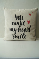 SALE, Valentines Pillow Cover, Valentines Decoration, 18x18 Pillow Cover, you make my heart smile