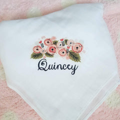 Personalized Baby Blanket, Muslin Baby Blanket, white blanket, baby swaddle blanket, customized baby blanket