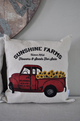SALE, Sunflower Pillow Cover, truck Pillow Cover, Fall pillow cover, 18x18