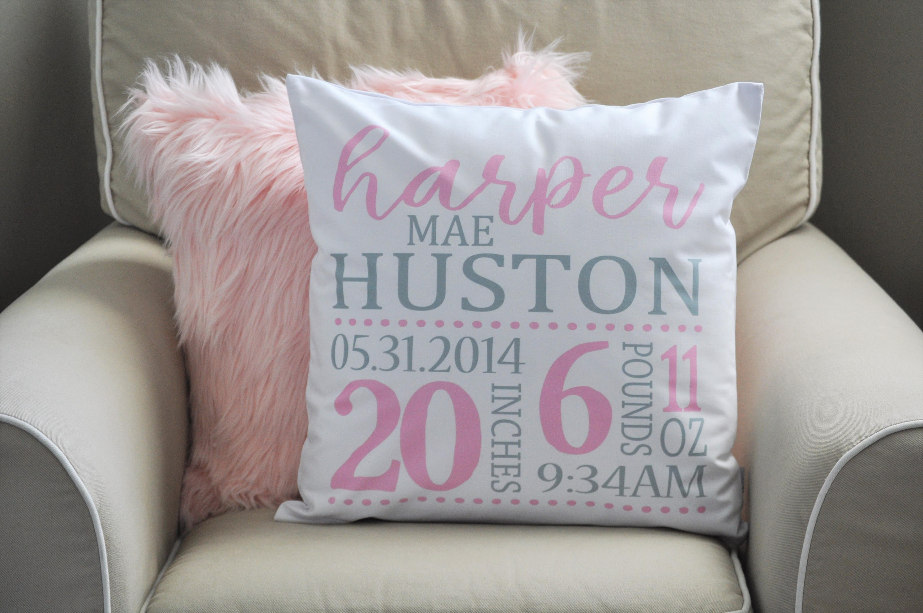 Personalized birth pillow cover, birth Announcement pillow cover, birth pillow cover, baby girl birth pillow, pink and gray