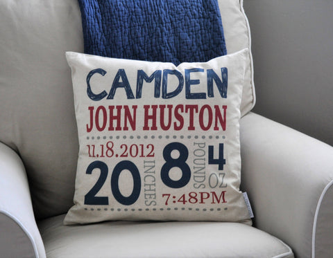 Personalized birth pillow cover, birth Announcement pillow cover, birth stats pillow, baby boy birth pillow, blue and red