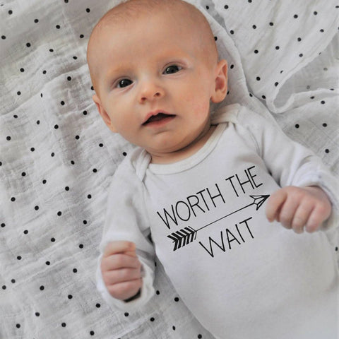 Worth the Wait bodysuit, baby girl bodysuit, baby boy bodysuit, baby bodysuit,  baby shower gift, printed baby bodysuit