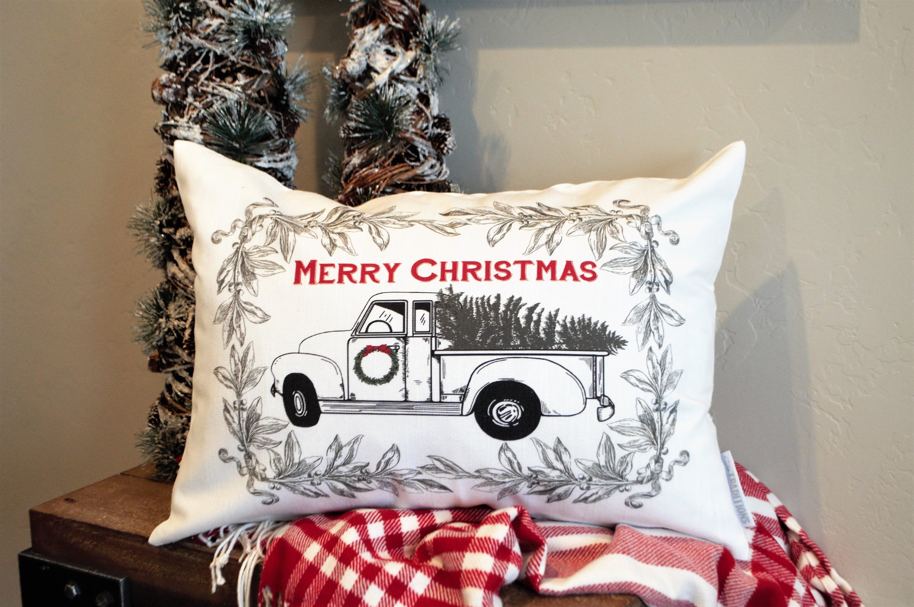 Christmas pillow cover, Christmas decor, Christmas Tree, Merry Christmas pillow, hand drawn, Vintage christmas,  red Christmas truck, 14x20