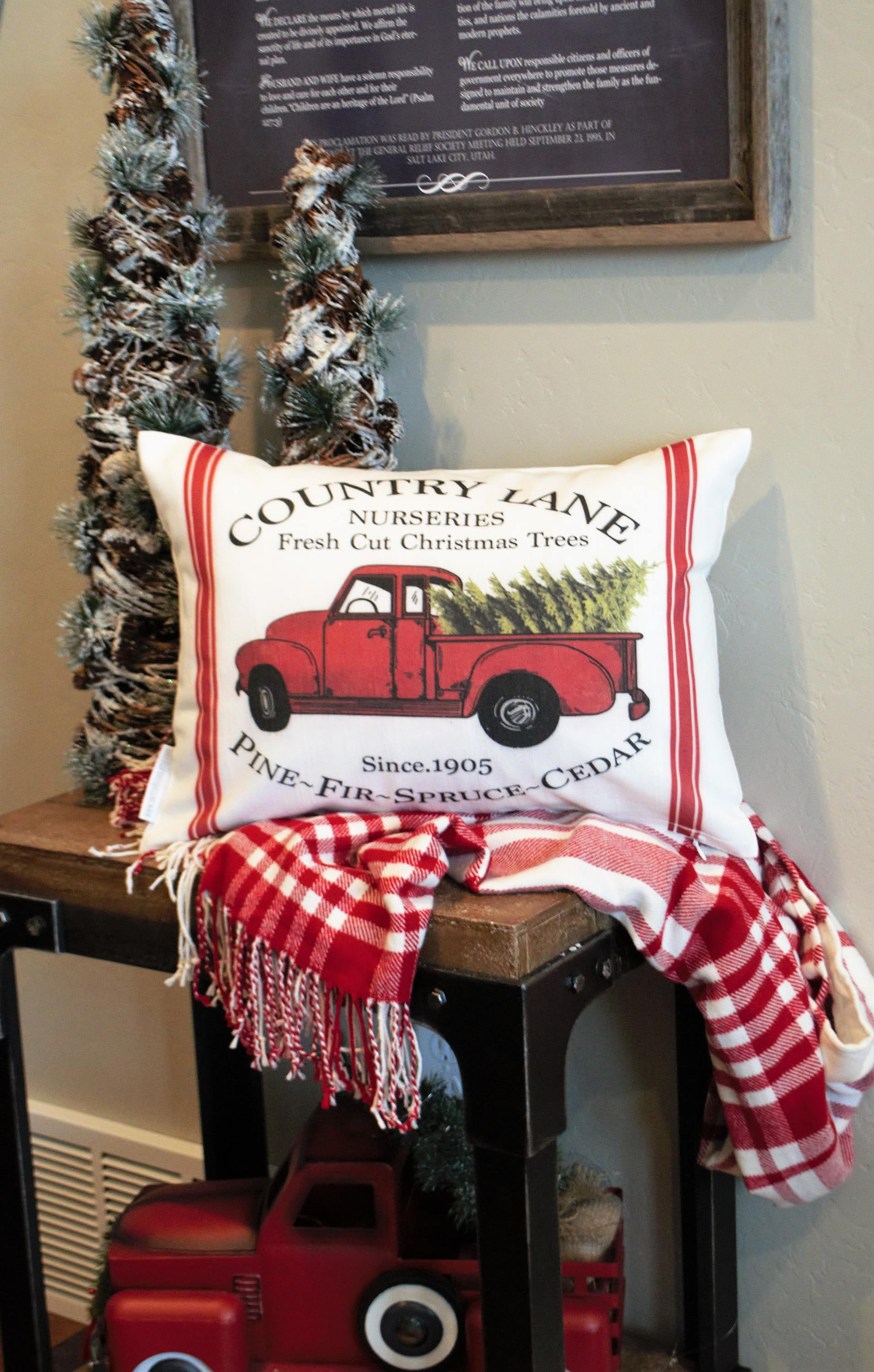 Vintage Red Truck Christmas Decor.Red Truck Christmas Tree Pillow Cover 14x20
