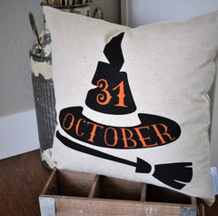 Halloween Pillow Cover, October 31 Pillow Cover, Halloween Decor, Witch Hat, Fall pillow