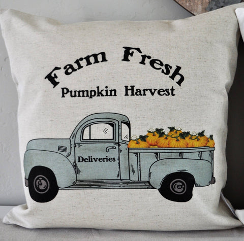 SALE, Pumpkin Harvest Pillow Cover, truck Pillow Cover, Fall pillow cover, 18x18