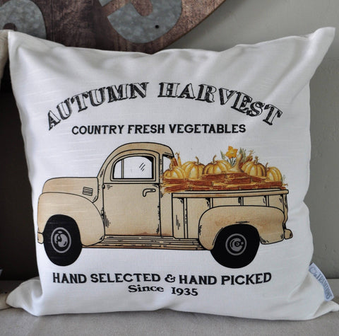 SALE, Autumn Harvest Truck,Pillow Cover, truck Pillow Cover, Autumn pillow cover, Fall Pillow Cover, 18x18