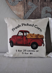 SALE, Fresh Picked Corn Pillow Cover, truck Pillow Cover, Fall pillow cover, Autumn Pillow Cover, 18x18
