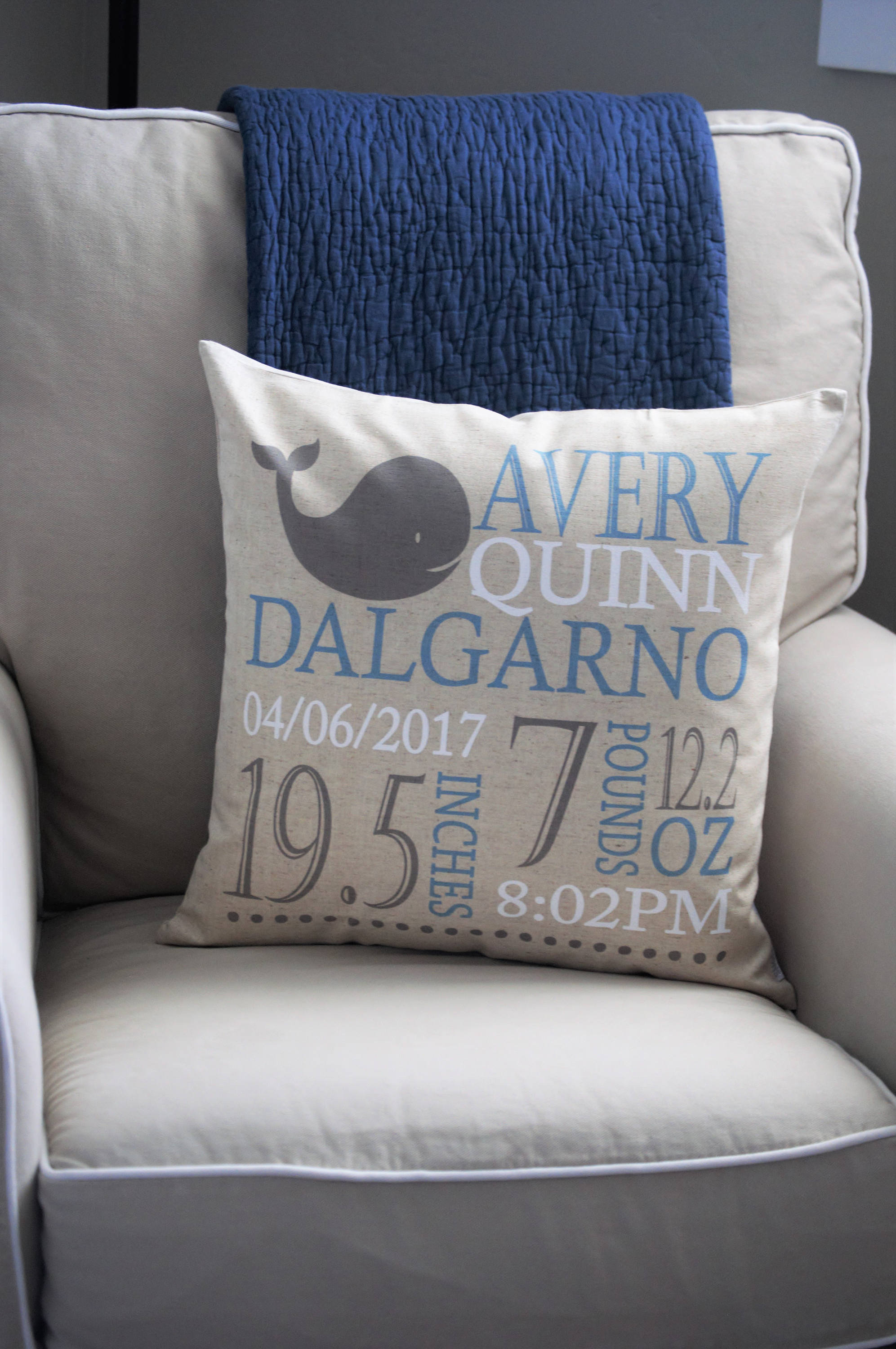 Personalized birth pillow cover, birth Announcement pillow cover, birth pillow cover, baby boy birth pillow, Whale Nursery