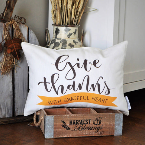 Fall Pillow Cover, Give Thanks, Fall Decor, Fall pillow, Thanksgiving Decor, Thanksgiving Pillow, 14x20