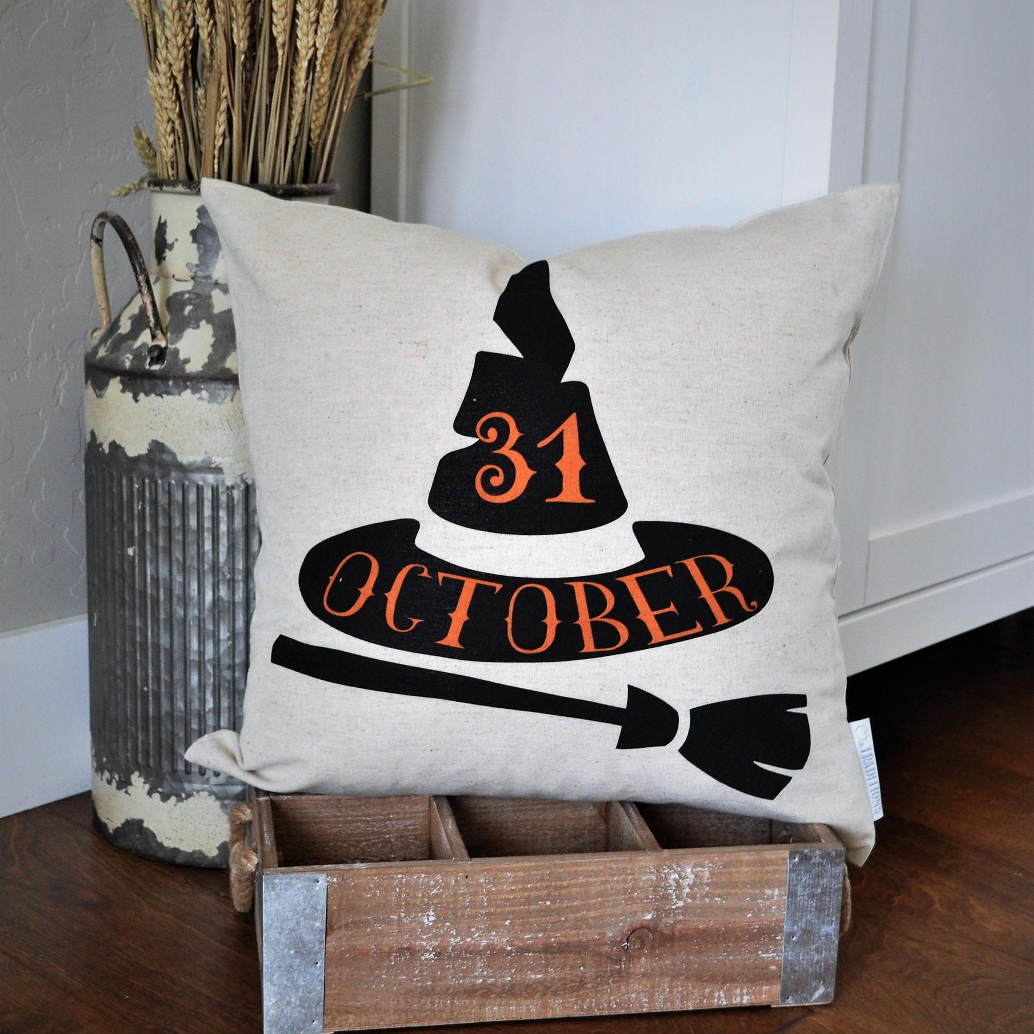 october 31 witch hat pillow cover – our traditions boutique