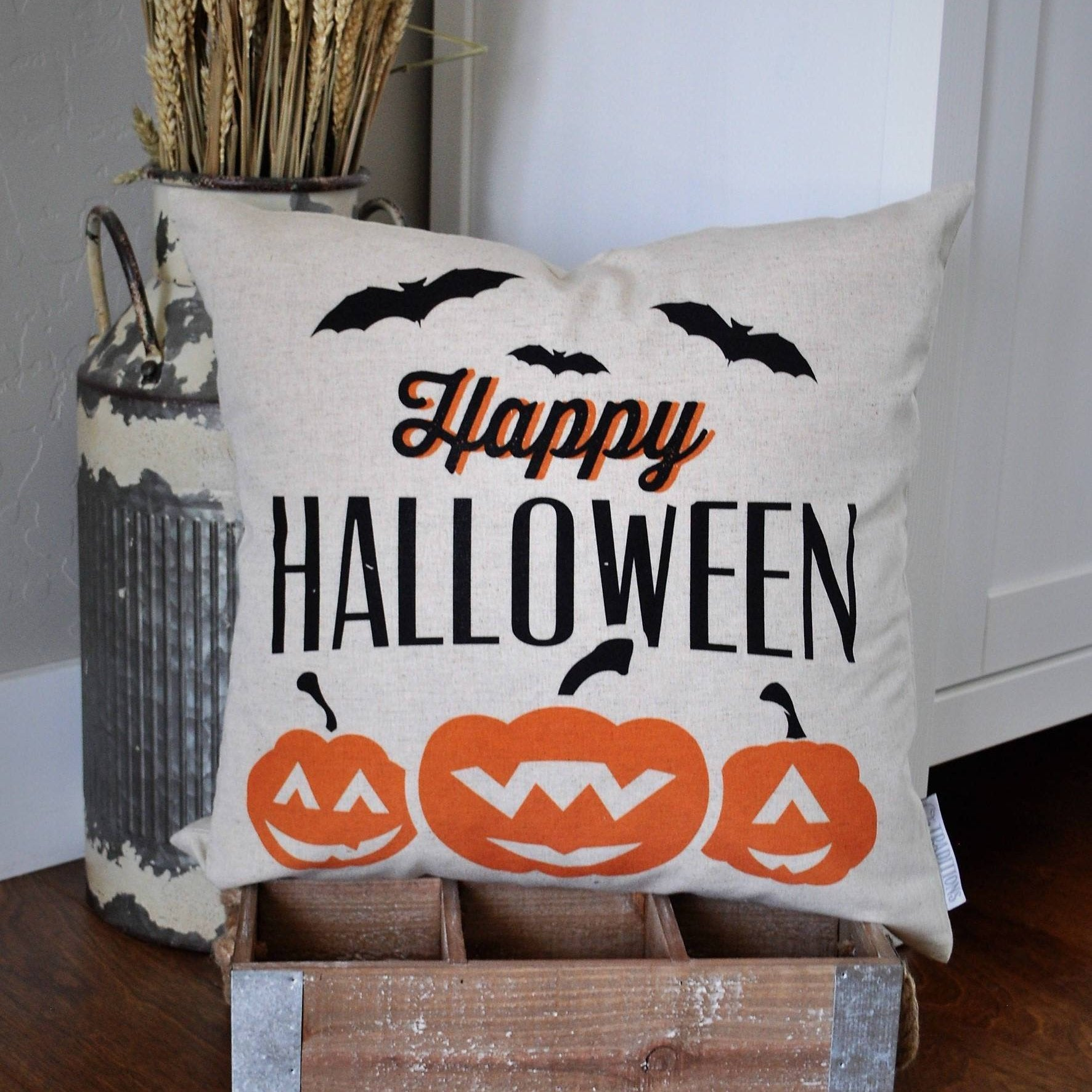 Halloween Pillow Cover, Happy Halloween Pillow Cover, Halloween Decor, Pumpkin Pillow, Fall pillow
